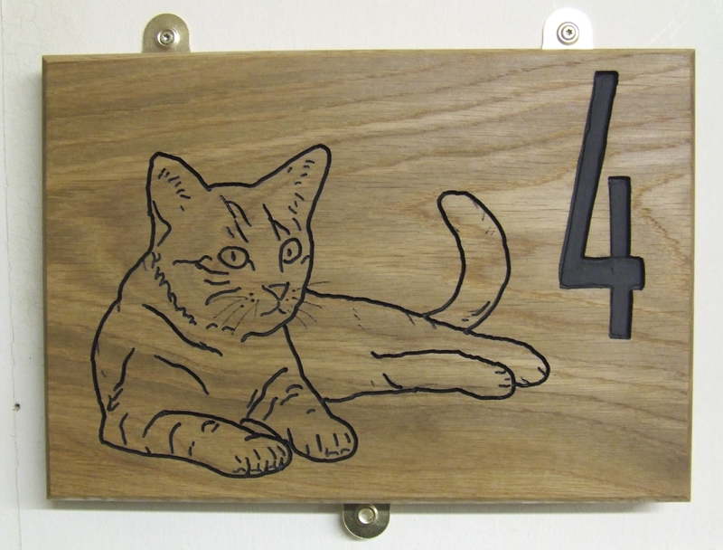 Cat SIgn 12 x 8 in Ash