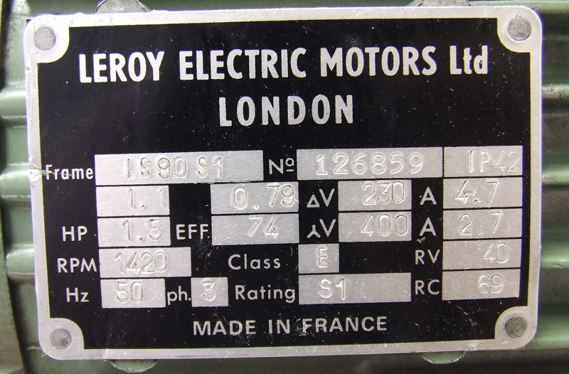 Leroy 1.1kw electric motor
